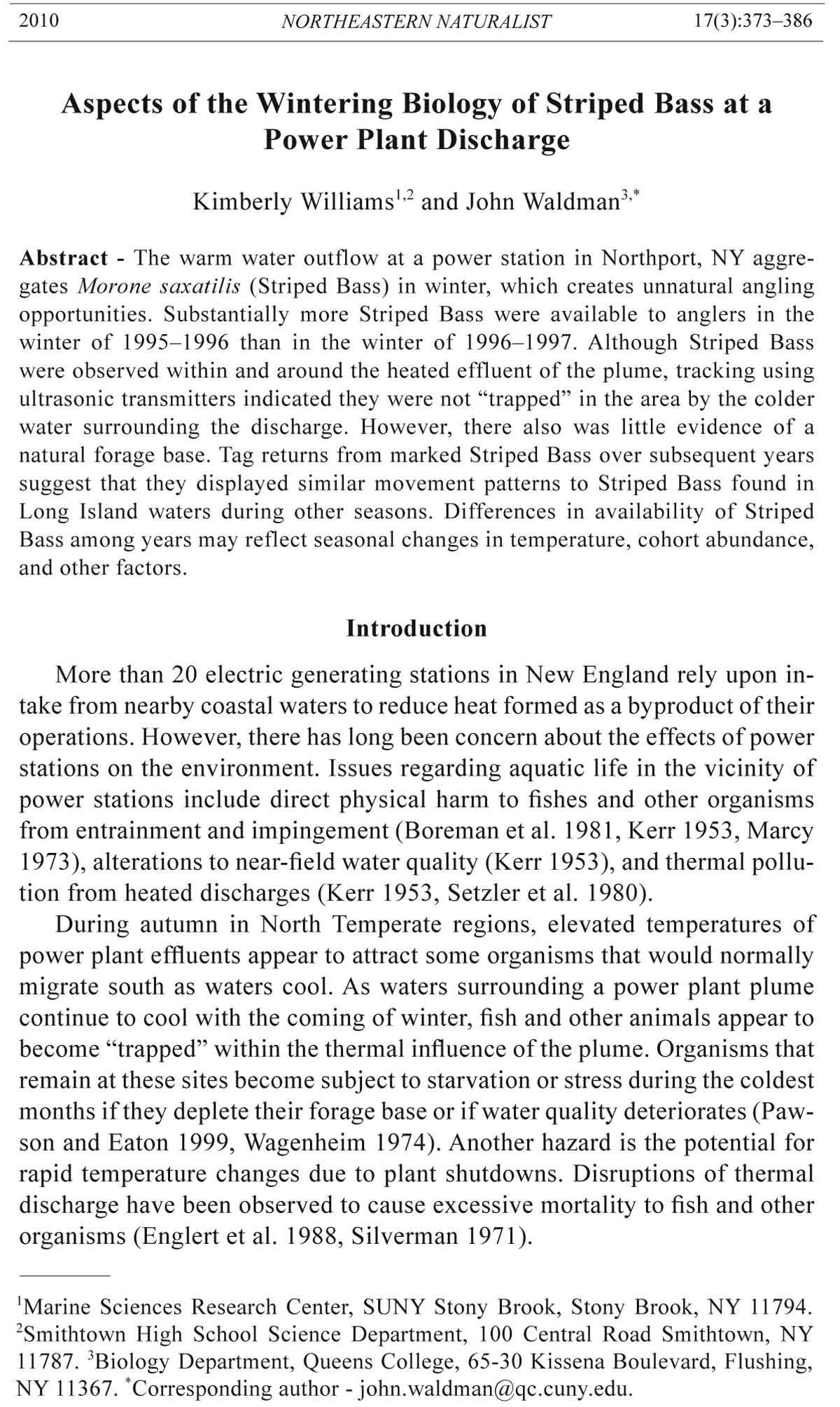 Northeastern Naturalist, Volume 17, Number 3 (2010): 373–386