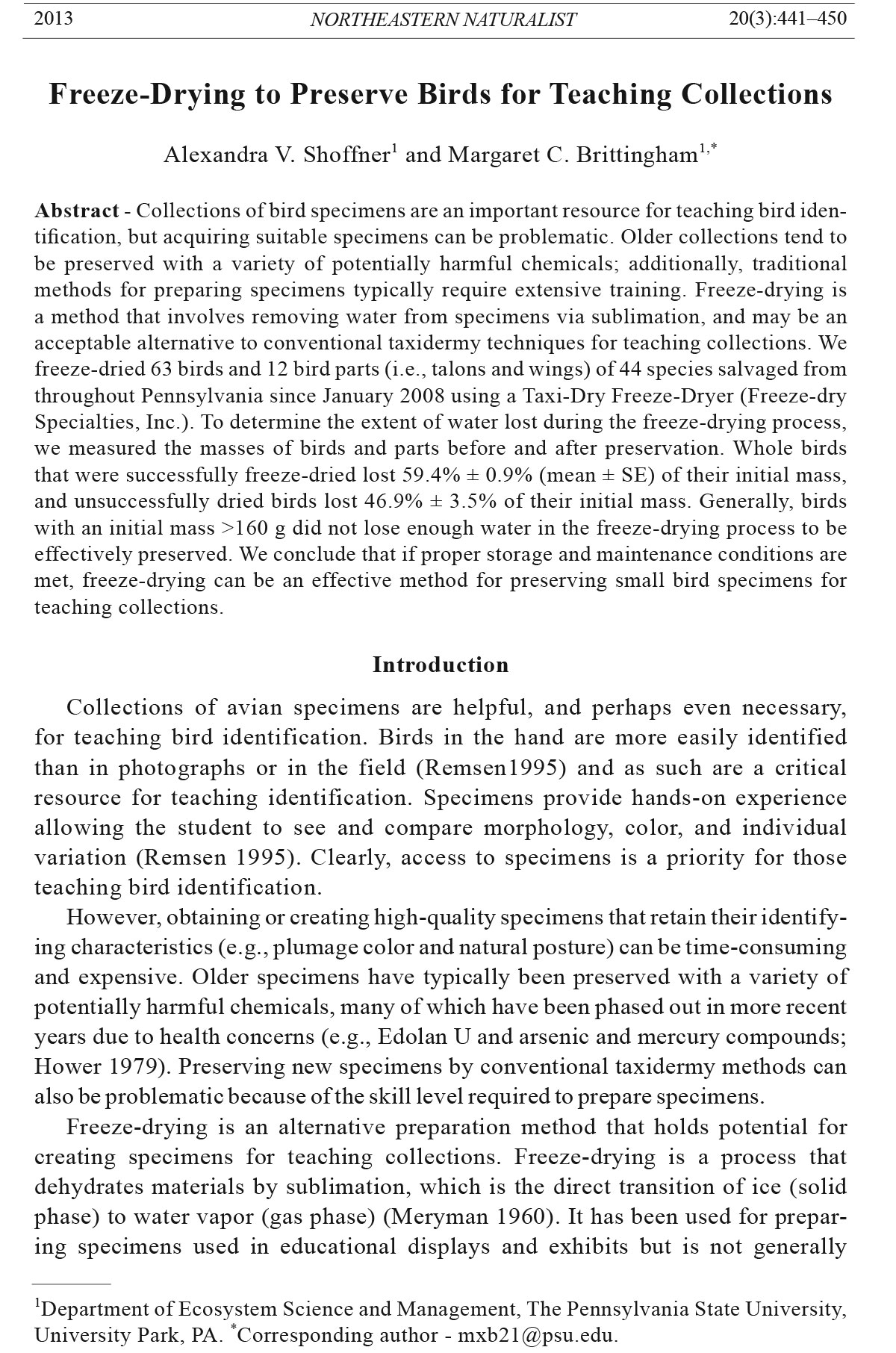 Northeastern Naturalist, Volume 20, Number 3 (2013): 441–450