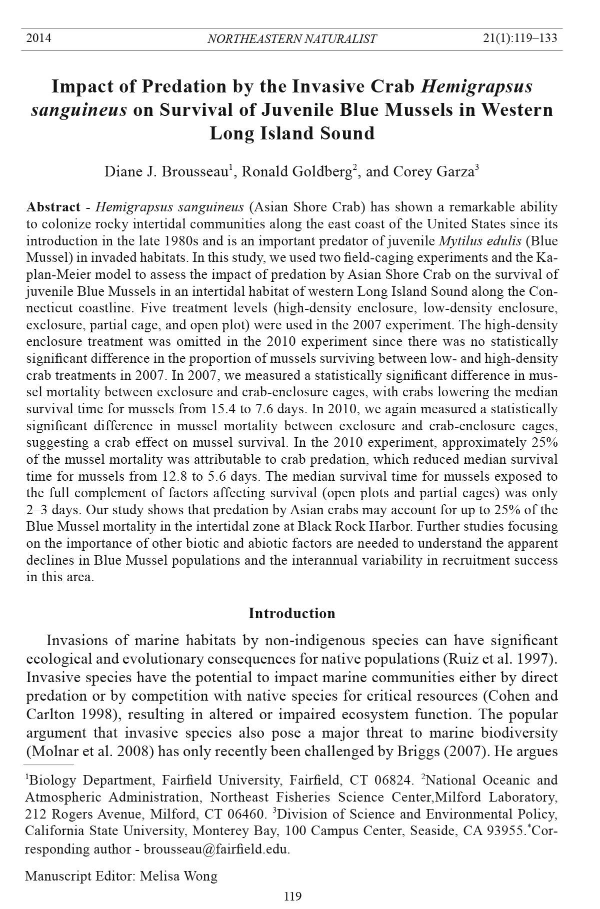 Northeastern Naturalist Volume 21 Number 1 2014 119133