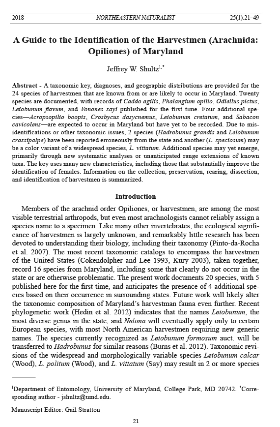 Northeastern Naturalist, Volume 25, Number 1 (2018): 21–49
