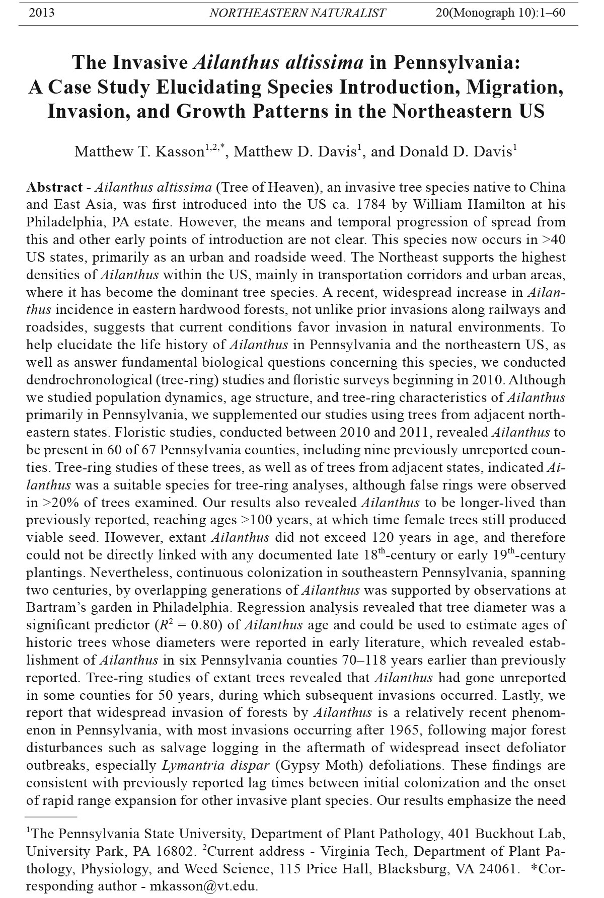 Northeastern Naturalist, Volume 20, Monograph 10 (2013): 1–42