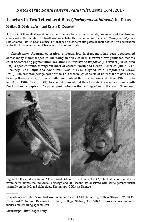 Southeastern Naturalist, Volume 16, Number 4 (2017): N43–N45