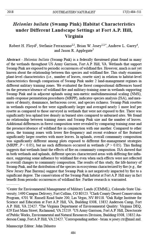 Southeastern Naturalist, Volume 17, Number 3 (2018): 484–511